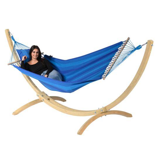 Hängematte mit Gestell 1 Person Wood & Relax Blue