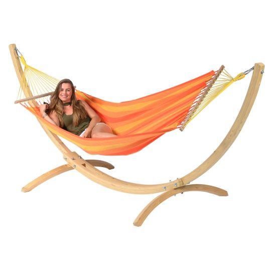 Hängematte mit Gestell 1 Person Wood & Relax Orange